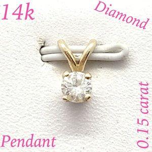 14k gold 0.15 carat diamond solitaire pendant